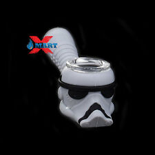 """Star Wars Grey Storm Trooper 4"""" Silicone Hand Pipe Tobacco w/ Glass Bowl"""