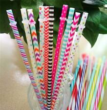 Reusable Drinking Straws Long Cocktail Party Drinks Hard Plastic Brush Cleaner