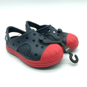 Crocs Toddler Boys Bump it Sandals Rubber Slip On Clog Navy Blue Red Size 7
