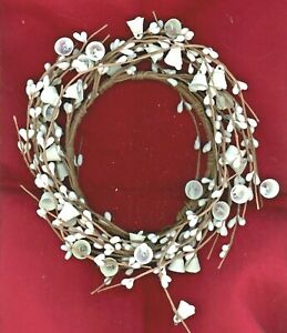 WHITE PIP BERRY WREATH WITH BELLS  8 Inch Diameter with 4.5 Inch Open Center