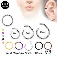 100% Titanium Hinged Segment Ring Hoop Ear Lip Nose Piercing Septum Cliker 1.6mm
