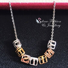 925 Sterling Silver,White,Yellow & Rose Gold Plated Letters Square Necklace