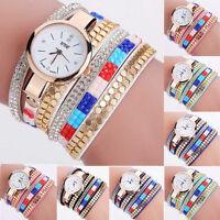Fashion Women's Bracelet Stainless Steel Crystal Analog Quartz Dial Wrist Watch