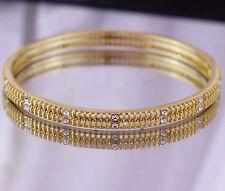 18K Yellow Gold GF Solid Filligree Bracelet BANGLE -63mm! w/ Simulated Diamond