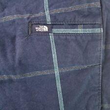 North Face Men's Golf Shorts 36 Regular Navy Plaid 100% Cotton Flat Front