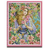 Counted Cross Stitch Kit Beauty Lady Flower Fairy Printed Unprinted 14CT 11CT