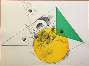 Amilcare Rambelli  litografia Composizione Giallo Verde 62x46 firmata numerata