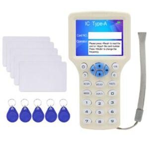 10 Frequency NFC Smart Card Reader Writer RFID Copier Duplicator 125KHz 13.56MHz