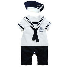 Newborn Baby Boy Sailor Romper +Hat Navy Suit Grow Outfit Summer Marine Outfit
