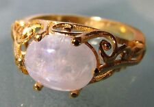 Gold plated brass everyday rainbow moonstone ring UK K½-¾/US 5.75