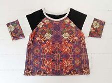 TOPSHOP black white red floral Stretch Raglan short sleeve High neck Crop Top 8