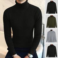 Men's Roll Neck Sweater Long Sleeve Plain Jumper Pullover Warm Sweater Shirt Top