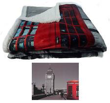 Sherpa Fleece Super Soft City Scene Throw Reversible Bed Blanket 130cm X 160cm London