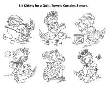 Hand Embroidery Transfer Six Playful Kittens for a Quilt, Curtains, Towels # 12