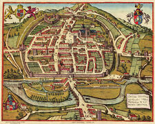 Old Map of Exeter in 1597, plan by Georg Braun - repro, vintage, historical