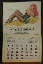 E. Chiriaka Glamourous Calendar Page March 1954 Saucy Redhead