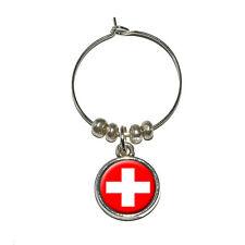 Switzerland Swiss Flag - Wine Glass Charm Drink Marker