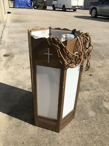 Vintage Gothic Church Pendant Hanging Ceiling Hexagon Light Fixture Used