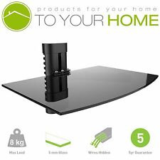 Black Single One Floating Glass Shelf Wall Mount Bracket Stand DVD Sky Console