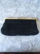 Vintage Clutch w/ Black Embroidered Handbag Purse Evening Satin Silk