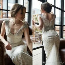 Vintage Beaded Crystal Lace Wedding Dress Mermaid V Back Bridal Gown Tulle Train