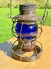 Antique W. & L.E. R.R. Wheeling & Lake Erie Railroad Lantern w/Cobalt Blue Globe