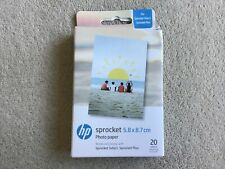 HP  5.8x8.7cm/2.3x3.4 Inch Sprocket Photo Paper, sticky backed x 20 Sheets
