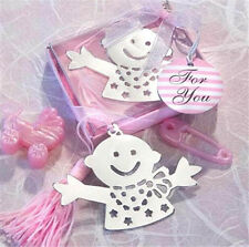 FD3697 Creative Pink Baby Exquisite Alloy Bookmarks With Ribbon Box Cute Gift ☆