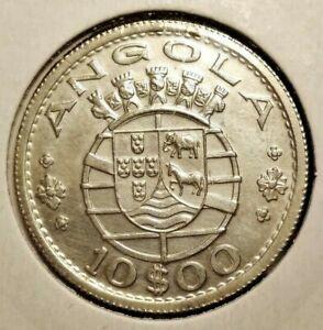 Portuguese Angola 10 escudos 1952 coin (SILVER! UNC!)