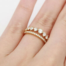 Yellow Gold Eternity Band 5 6 7 1.00 Ct Real Diamond Engagement Ring 18K Solid