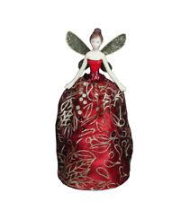 Gisela Graham Red And Gold Glitter Christmas Fairy - Christmas fairy Tree Topper