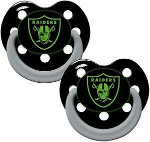 Las Vegas Raiders  GLOW IN THE DARK Baby Infant Pacifiers NEW 2 Pack Great Gift