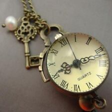 Long Pocket Watch Dome Necklace with Key and Pearl Steampunk Clock Alice