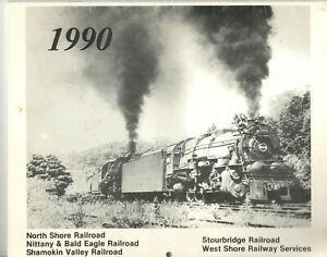 NORTH SHORE RAILROAD COMPANY & AFFILIATES 1990 CALENDAR! B&W TRAIN PICS! PENN!