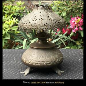 Antique Moorish Pierced Embossed Brass Kerosene Oil Lamp moroccan turkish