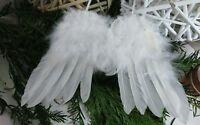 Engelsflügel aus Federn Deko Weihnachten weiß Shabby Chic NEU 28x26cm Brocante
