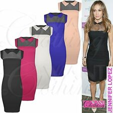 Women's Polyester Collared Stretch, Bodycon Knee Length Dresses