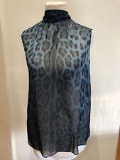 Dolce Gabbana Leopard Print Blue Silk Blouse IT38