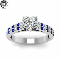 Heart White&Blue Sapphire Wedding Promise Band Ring 18K Silver White Gold Filled