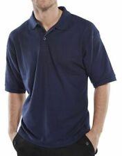 Size MEDIUM Click Navy Blue Mens Polycotton Short Sleeve Pique Polo Shirt Collar