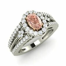 14K White Gold 0.84ct Certified Natural G/SI Diamond & Morganite Engagement Ring