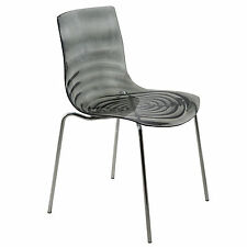 Astor Polycarbonate Modern Dining Chair In Transparent Black