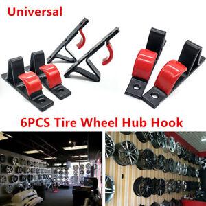 6PCS Universal Car SUV Wheel Rim Hub Display Wall Mounted Hanging Hook Practical