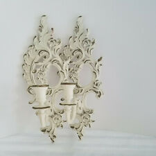 Pair Vintage 1962 Syroco White Gold 'Shabby' Wall Candle Holders- Hand Painted
