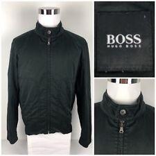 Hugo Boss Mens 44R Large Jacket Bomber Black Windbreaker Faded Look Rare