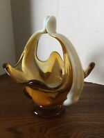 "MCM Vintage Amber & White Art Glass Basket~Hand Blown Italy 7.5""H Murano Look"