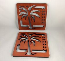 Palm Tree Laser Cut Brown Wood Trivet Set Of 2 ,new in the box.