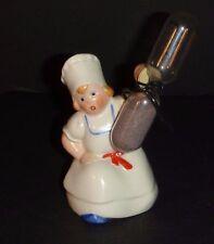 Vintage Figural Hourglass Kitchen Egg Timer Ceramic Baker Girl - Marked Germany