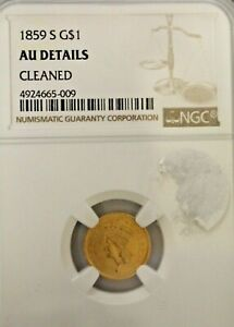 1859 S $1 US GOLD NGC AU DETAILS CLEANED