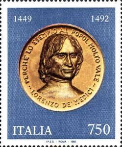 """Francobollo Italia - 1992 5º centenario Lorenzo de' Medici detto """"il Magnifico"""""""